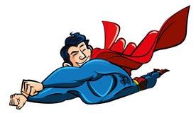Vuelo del supermán de la historieta Imagen de archivo