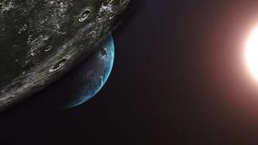 Vuelo después de la luna Salida del sol sobre la tierra Vista que sorprende de la tierra del planeta stock de ilustración