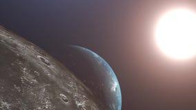 Vuelo despu?s de la luna Salida del sol sobre la tierra Vista que sorprende de la tierra del planeta ilustración del vector