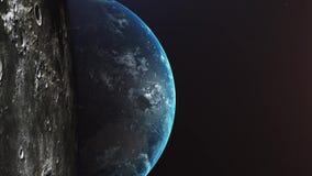 Vuelo despu?s de la luna Salida del sol sobre la tierra Vista que sorprende de la tierra del planeta stock de ilustración