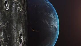 Vuelo despu?s de la luna Salida del sol sobre la tierra Vista que sorprende de la tierra del planeta libre illustration