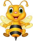 Vuelo divertido de la abeja de la historieta Aislado en el fondo blanco Foto de archivo