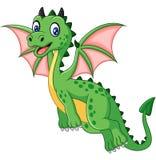 Vuelo divertido del dragón verde de la historieta Imagenes de archivo