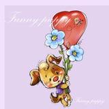 Vuelo divertido del perrito en un globo rojo Imagen de archivo libre de regalías