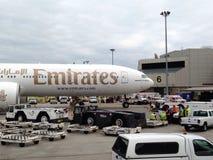 Vuelo EK 237 de los emiratos bajo cuarentena en el aeropuerto de Boston Imágenes de archivo libres de regalías