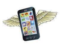 Vuelo elegante del teléfono móvil con las alas Fotografía de archivo libre de regalías