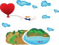 Vuelo en del amor. stock de ilustración