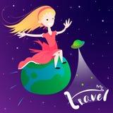 Vuelo en el planeta de la tierra - concepto de la niña de viaje global Fotografía de archivo