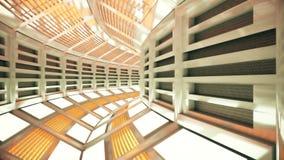 Vuelo en un pasillo abstracto de la nave espacial de la ciencia ficción Loopable almacen de metraje de vídeo