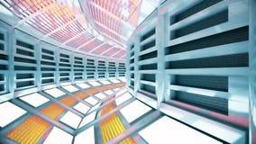 Vuelo en un pasillo abstracto de la nave espacial de la ciencia ficción Loopable almacen de video