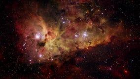vuelo espacial 4k en un campo de estrella Representación básica 3D de un vuelo espacial en Carina Nebula libre illustration