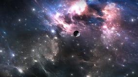 Vuelo espacial a través de la nebulosa stock de ilustración