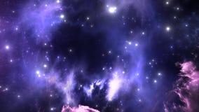 Vuelo espacial a través de la nebulosa ilustración del vector