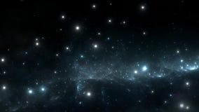 Vuelo espacial a través de la nebulosa Viaje espacial stock de ilustración