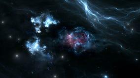 Vuelo espacial a través de la nebulosa Viaje espacial ilustración del vector