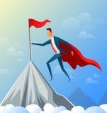 Vuelo estupendo del hombre de negocios encima de la montaña con la bandera del éxito Ilustración del vector stock de ilustración