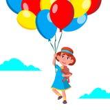 Vuelo feliz de la muchacha del niño en el cielo en vector de los globos Ilustración libre illustration