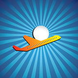 Vuelo gráfico del icono del avión de pasajeros o del jet en un día brillante Imagen de archivo