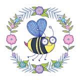 Vuelo hermoso de la abeja con la corona floral stock de ilustración