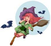 Vuelo hermoso de la mujer de la bruja en el palo de escoba ¿Historia de Víspera de Todos los Santos? qué puede usted ver? Ilustra Foto de archivo