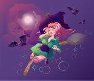 Vuelo hermoso de la mujer de la bruja en el palo de escoba Noche de Halloween Foto de archivo