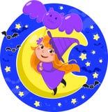 Vuelo lindo de la bruja de Víspera de Todos los Santos con el globo del palo Imágenes de archivo libres de regalías