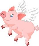 Vuelo lindo de la historieta del cerdo aislado en el fondo blanco Fotografía de archivo