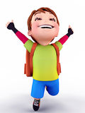 Vuelo lindo feliz del muchacho con el bolso de escuela Foto de archivo