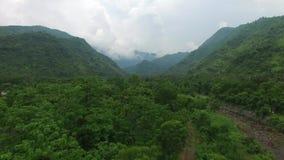 Vuelo a lo largo de las monta?as cubiertas con la selva tropical almacen de video