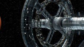 Vuelo a Marte de una gran nave espacial interplanetaria, animación 3d La textura del planeta fue creada en el gráfico libre illustration