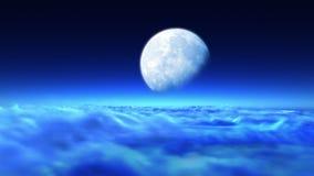 Vuelo nocturno hermoso sobre las nubes a la luna