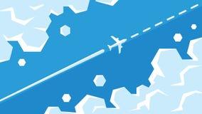 Vuelo plano entre el ejemplo del vector de las nubes El aeroplano está volando en el cielo en la ruta ilustración del vector