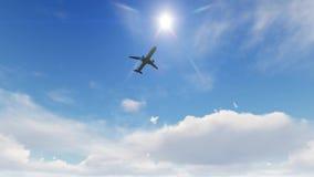 Vuelo plano por encima, aterrizando en el aeropuerto en la puesta del sol stock de ilustración