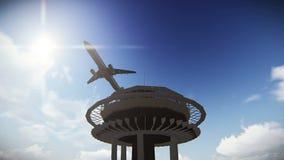 Vuelo plano turístico sobre la aguja del espacio en la cantidad de Seattle ilustración del vector