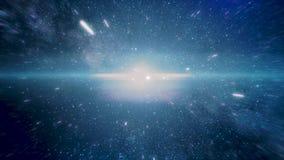 Vuelo rápido loco en hyperspace del espacio entre las nebulosas y el fondo cósmico azul del estrella y negro El volar rápidamente libre illustration