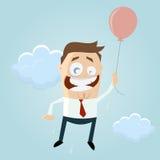 Vuelo retro del hombre de la historieta con un globo Foto de archivo libre de regalías