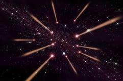 Vuelo rojo del meteorito en el universo Fotos de archivo