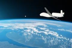 Vuelo sin tripulación de los aviones en la atmósfera superior, el estudio de las cáscaras de gas de la tierra del planeta, salida fotos de archivo libres de regalías