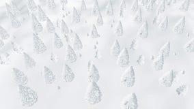 Vuelo sobre bosque escarchado del abeto del invierno Fotos de archivo libres de regalías