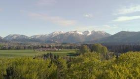 Vuelo sobre bosque y paisaje bávaro hermoso con las montañas almacen de video