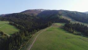 Vuelo sobre el bosque en las montañas y el pueblo Opinión aérea el ucraniano Cárpatos almacen de video