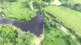 Vuelo sobre el campo con el pantano y los lagos Silueta del hombre de negocios Cowering Vídeo 4K almacen de metraje de vídeo