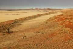 Vuelo sobre el desierto de Sossusvlei en Namibia Imágenes de archivo libres de regalías