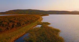 Vuelo sobre el lago hermoso Blagodatnoye rodeado con los bosques y las montañas verdes en el fondo almacen de metraje de vídeo