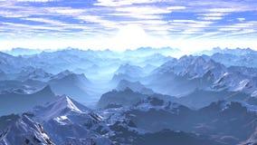 Vuelo sobre las montañas a la salida del sol metrajes