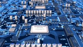 Vuelo sobre lazo azul de la placa madre del circuito ilustración del vector