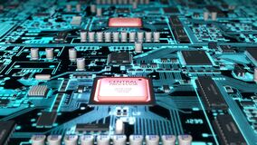 Vuelo sobre placa de circuito contra CPU heated, lazo ilustración del vector