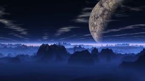 Vuelo sobre un planeta azul stock de ilustración