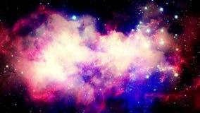 Vuelo a través de las nebulosas estelares y polvo cósmico, racimos de gas cósmico y constelaciones en espacio profundo ilustración del vector