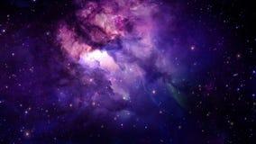 Vuelo a través de las nebulosas estelares y polvo cósmico, racimos de gas cósmico y constelaciones en espacio profundo stock de ilustración